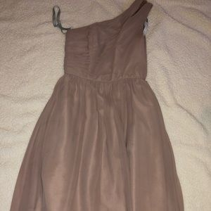 Alfred Angelo taupe one shoulder bridesmaid dress